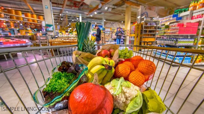 Grocery cart full of food. Tips on how to save money on thanksgiving dinner