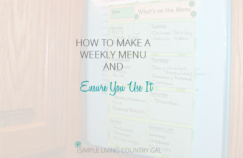 How To Create A Weekly Menu And Ensure You Remember To Use It!