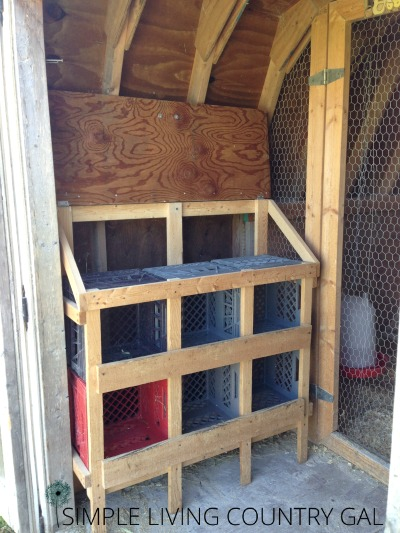 "Once the boxes are in, it's ready to go!   A little bit of hay for comfort is all you need.  I just love this design, the plastic crates are very easy to clean, the frame is extremely light weight so I can move it in and out very easily by myself and the hens really love it as well and fit very comfortably. I have even found two hens in one crate together just as happy as can be![spacer height=""20px""]"