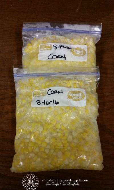 Bags of freezer corn ready for the freezer.