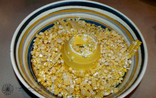 Corn in a bowl for freezer corn recipe