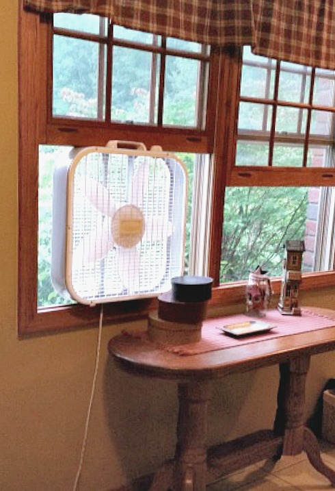 window fan. How to keep cool with central air.