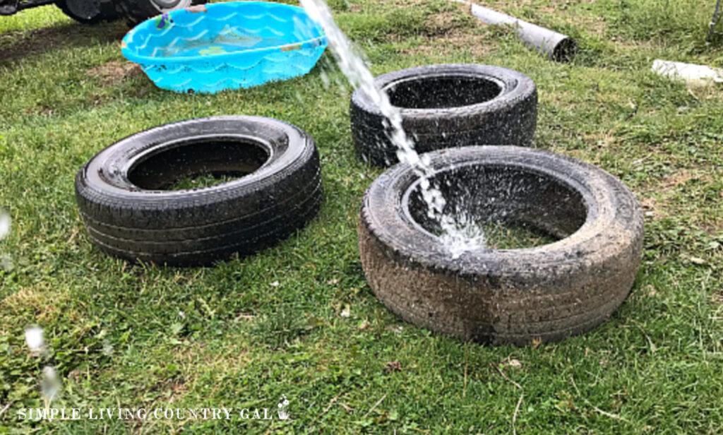 washing tires for dust bath