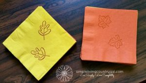 Hand stamped napkins, another way to save money on your thanksgiving dinner.