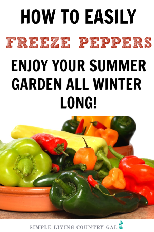 How to easily freeze peppers so they do not get freezer burn or spoil before you can use them. #peppers #freezepeppers