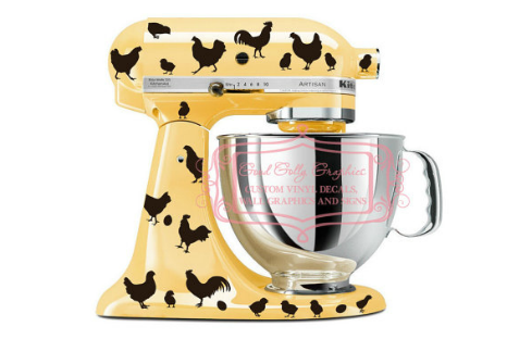 Chicken decals for a mixer.gift ideas for chicken lovers
