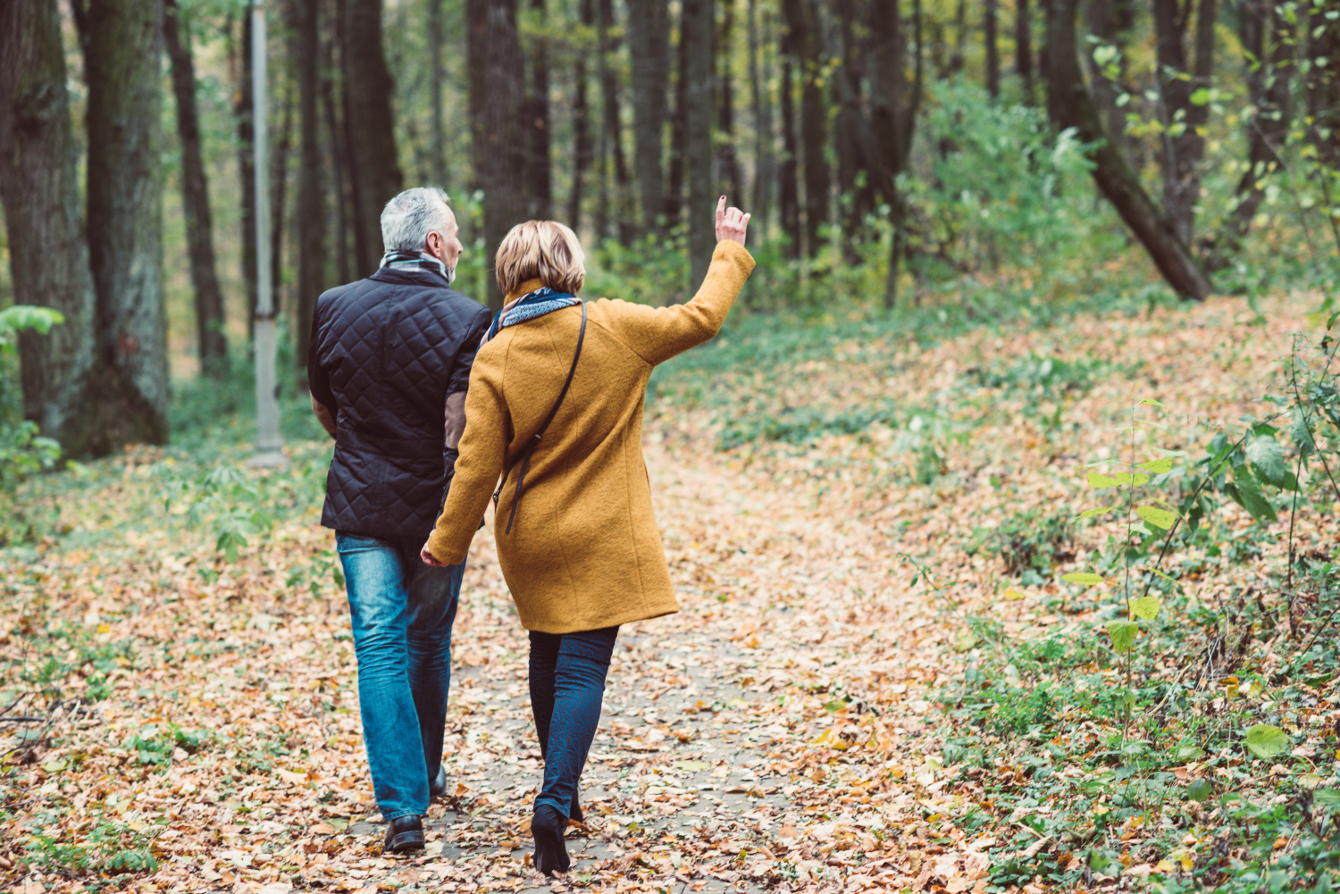 older couple walking in the woods. How to set up a legacy drawer