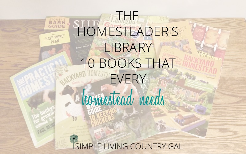 A pile of homesteading books