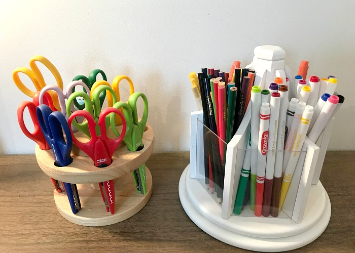 markers and scissors. Craft room organization tips