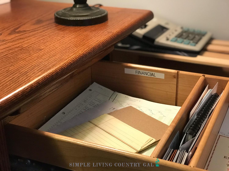 finance drawer bill paying drawer