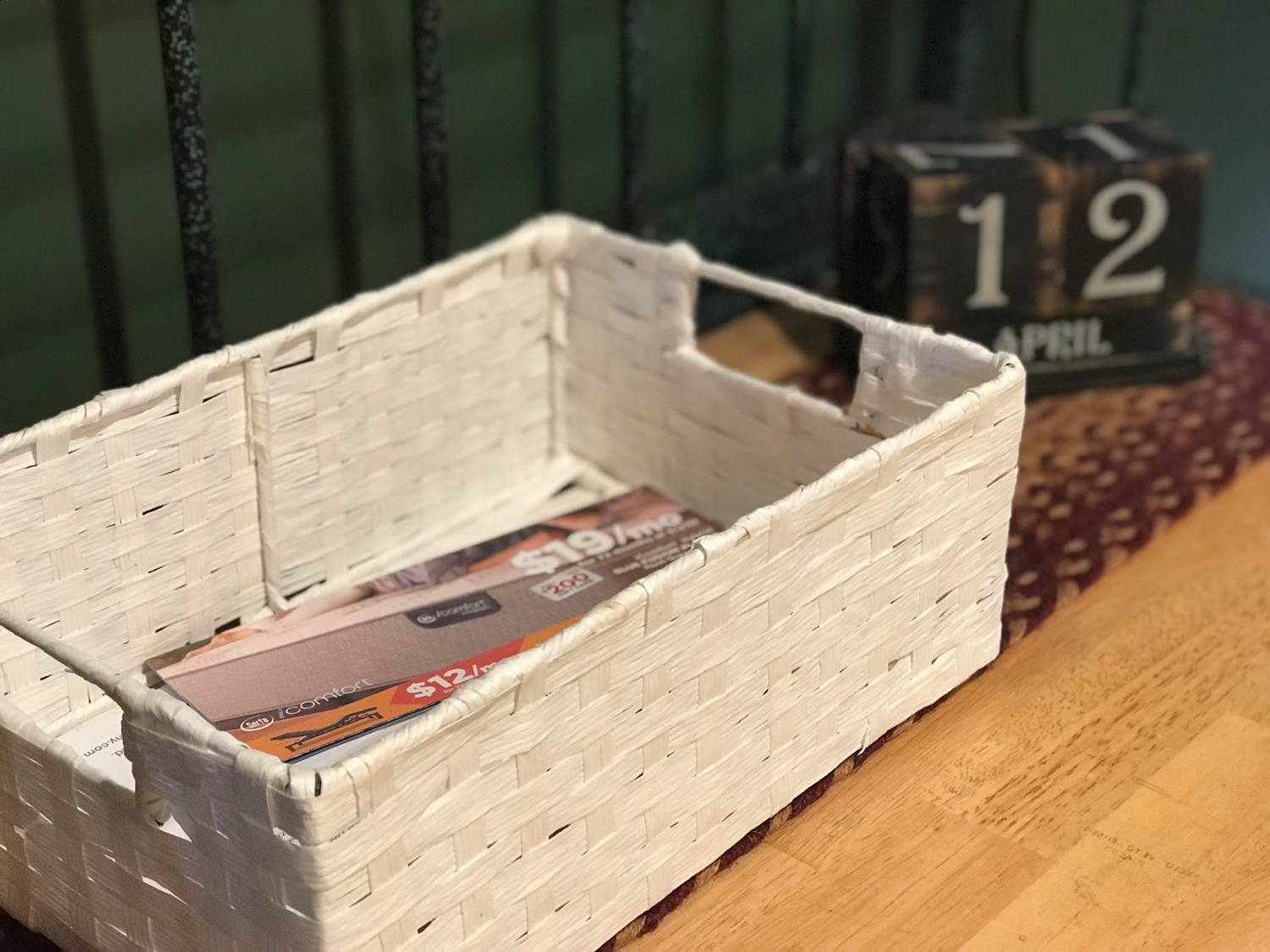 mail basket to help organize paper clutter