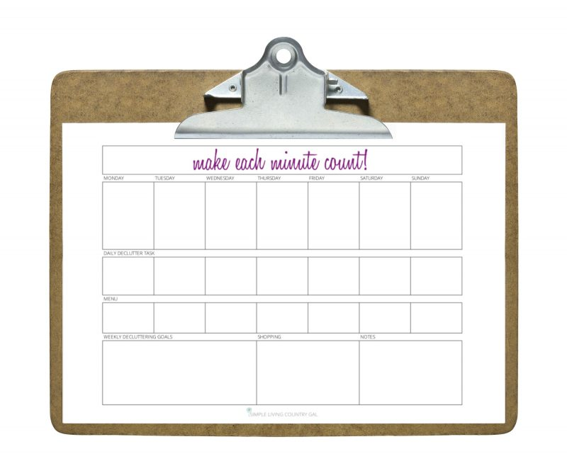 daily decluttering planner