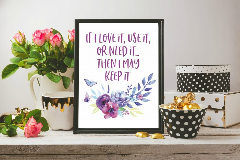 decluttering quote in a frame. Printable declutter checklist pdf