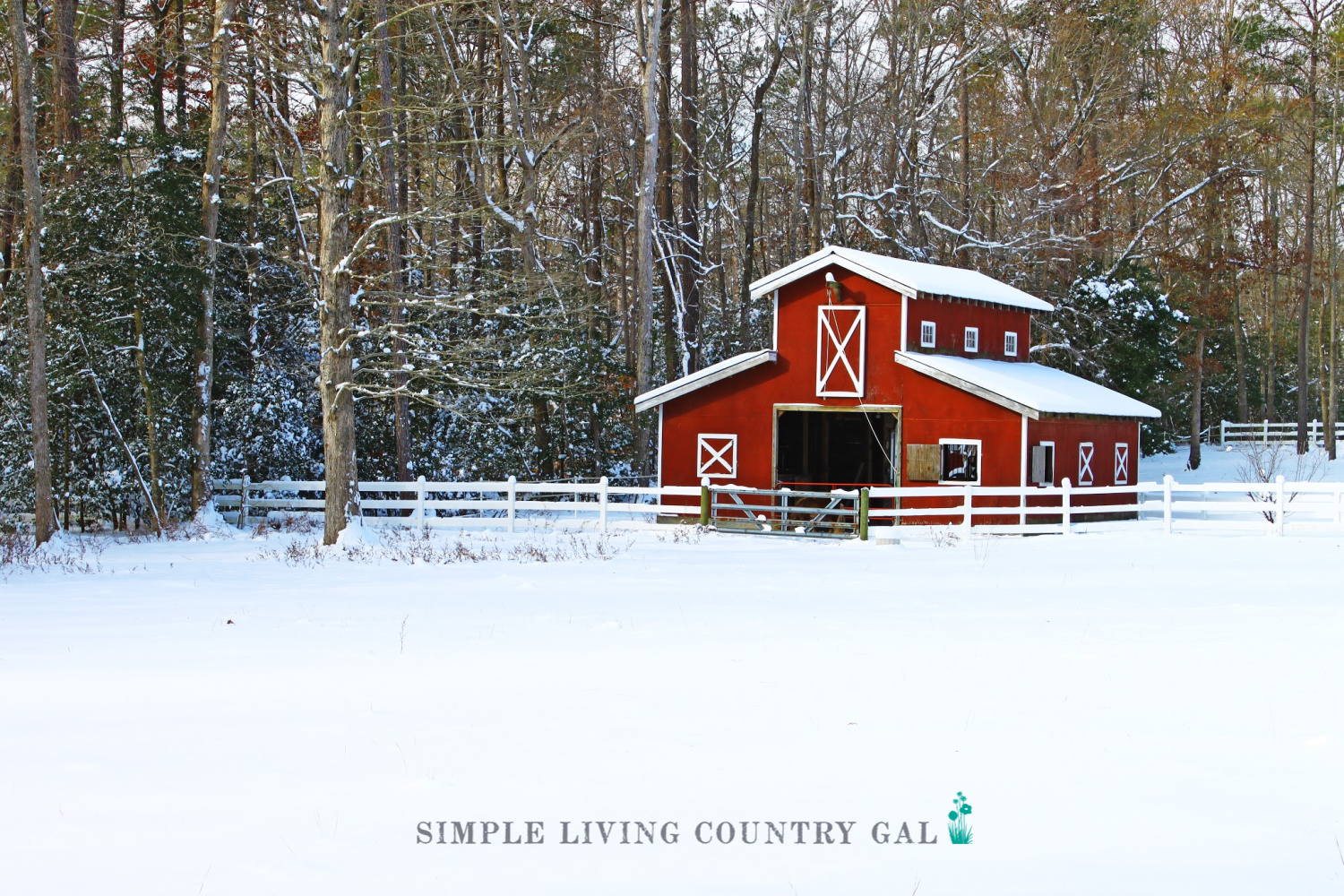 red barn in the snow. gifts for simple living