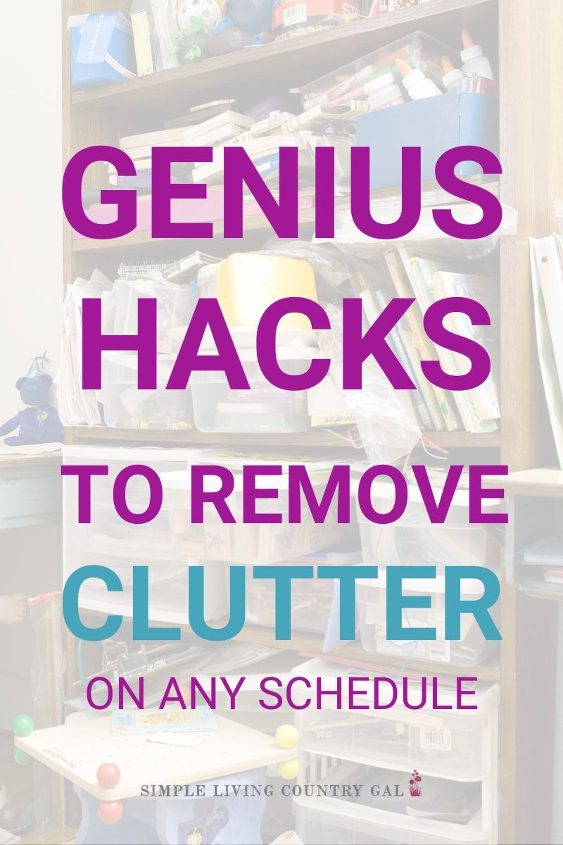 the secret to living clutter free. Easy decluttering tips you may not have tried yet. Remove the overwhelm and the stuff with this simple decluttering checklist. #clutterfree #decluttertips #clutterhacks