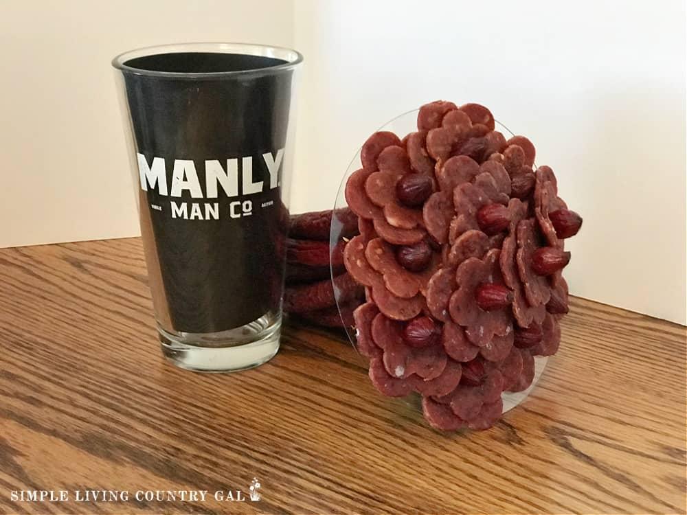 A beef jerky bouquet in glass