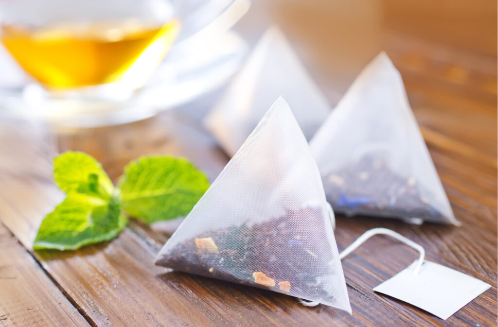 homemade herbal bags of mint tea