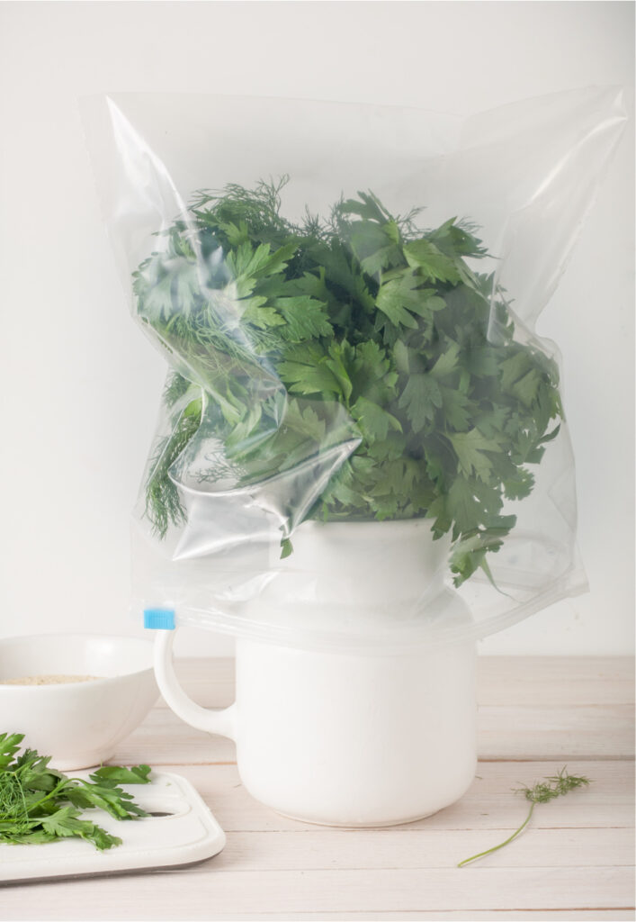 parsley in a jar of water with a plastic bag on top
