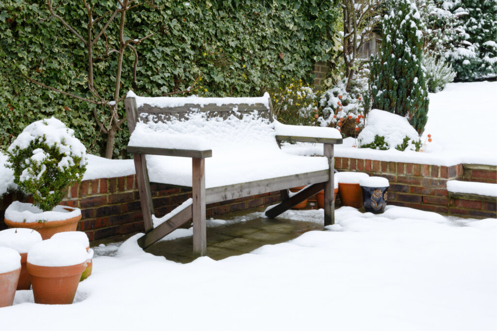 A bench covered in snow. How to grow vegetables in the winter