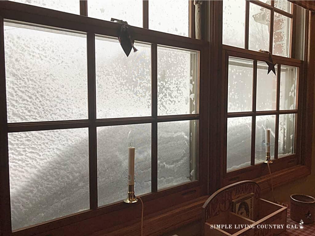winter snow view from window deep litter